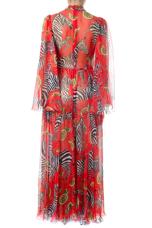 Best price on the market: Dolce & Gabbana Dolce & Gabbana Zebras & Lemon Printed Red Silk Chiffon Long Dress