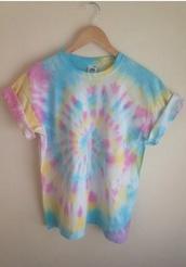 t-shirt,cuffedsleeves,tie dye,hipster,top