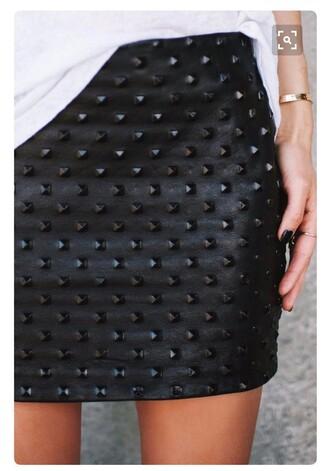 skirt studded skirt black leather skirt
