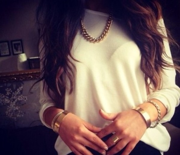 t-shirt long arms white long behind chique jewels