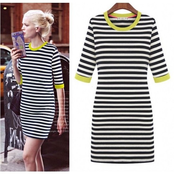 Ladies Striped Round Neck Fitted Mini Dress Shift Long Top Stripy Black White | eBay