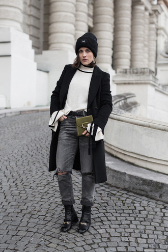 viennawedekind blogger coat sweater jewels hat jeans shoes bag beanie green bag black coat bell sleeve sweater ankle boots grey jeans