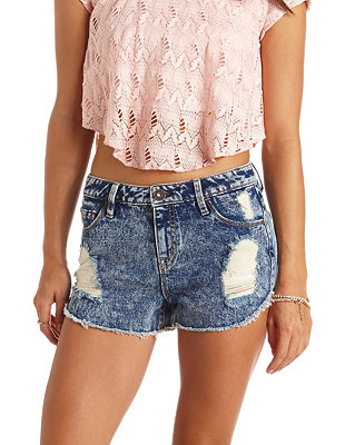Waisted denim shorts: charlotte russe