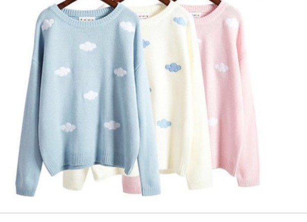 sweater kawaii pastel clouds cute lolita clouds sweater fashion style cool trendy comfy boogzel