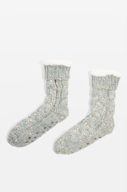 Topshop glitter slippers knit grey shoes