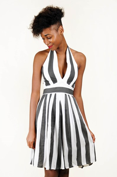 Daphne Dress White-Black Stripe from Neuw - Grandpa | Fashion, interior & vintage online.