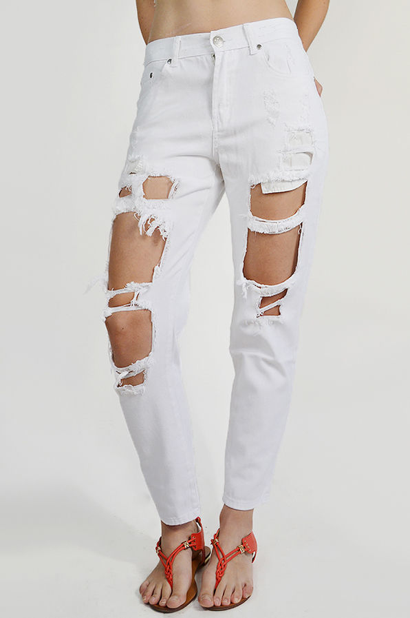 BOYFRIEND White Ripped Denim Shredded Jeans Reverse Clothing BNWT