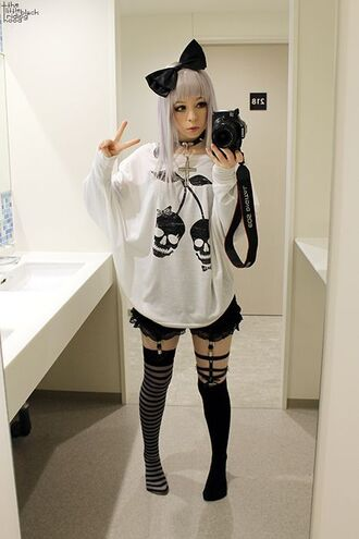 shirt cherry skull pastel goth kawaii kawaii grunge socks t-shirt nu goth cute pastel punk black and white