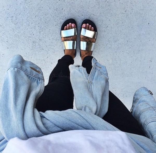 1136330479c6 shoes sandas gold shoes gold black sandals winter outfits trendy gold  sandals black Silver sandals urban.