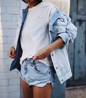 jacket,tumblr,denim jacket,blue jacket,patchwork,t-shirt,white t-shirt,denim shorts,shorts,ring,silver ring,jewels,jewelry,necklace,gold necklace,gold jewelry