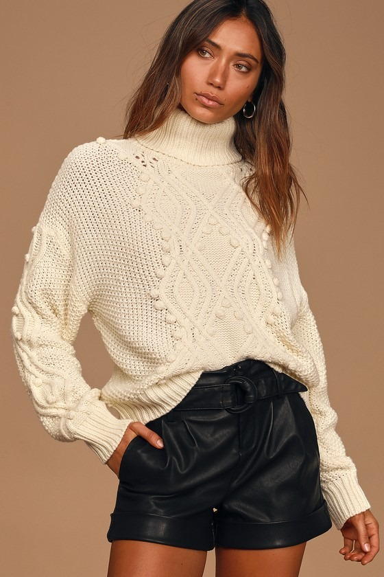 Delightfully Cozy Cream Cable Knit Pompom Knit Sweater