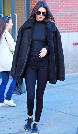 coat jacket sneakers leggings pants kendall jenner fall outfits