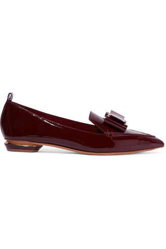 bow embellished flats leather burgundy shoes