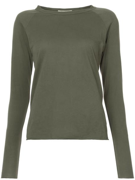 Nili Lotan - long sleeve T-shirt - women - Supima Cotton - XS, Green, Supima Cotton