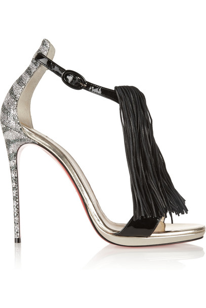 christian louboutin sandals leather sandals leather silver black shoes