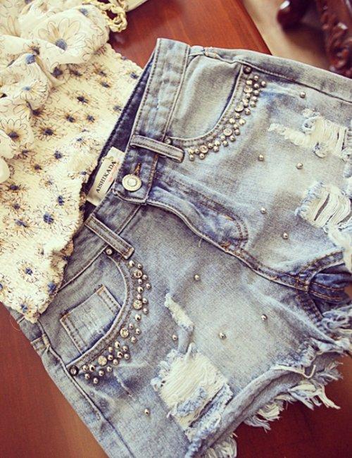 Lady's Summer Beaded Denim Shorts Female Casual