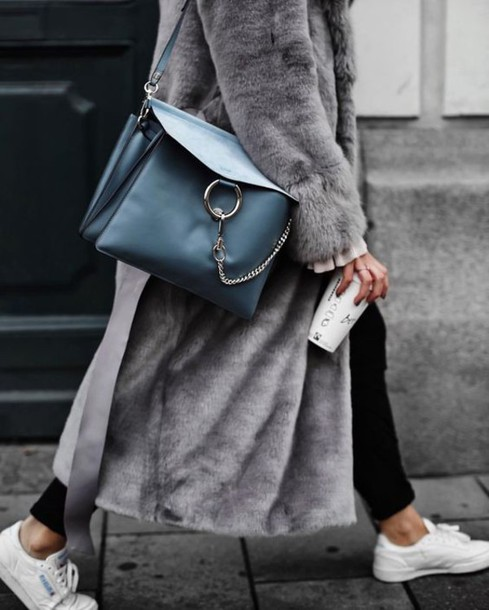 76a03bec44b coat long coat grey coat fur coat faux fur winter coat chloe bag shoulder  bag petrol