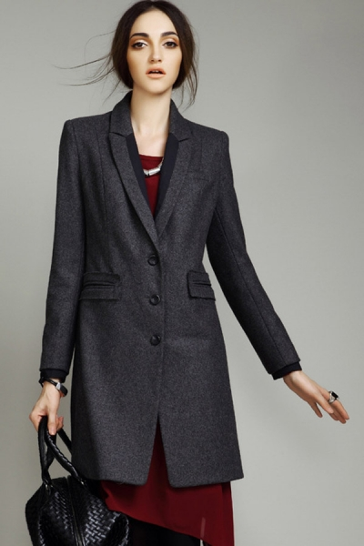 Wool-blend Chesterfield Coat - OASAP.com