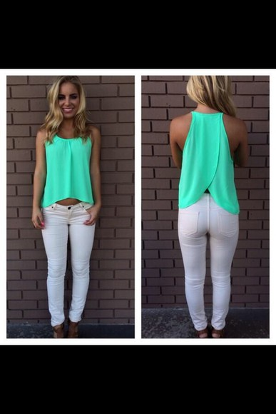 mint green cute tank top summer outfits summer mint green shirt open back
