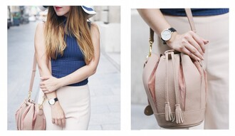 elodie in paris blogger top bucket bag blush pink fall accessories