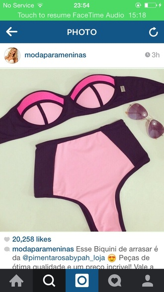 swimwear triangle pink and black bikini bikini