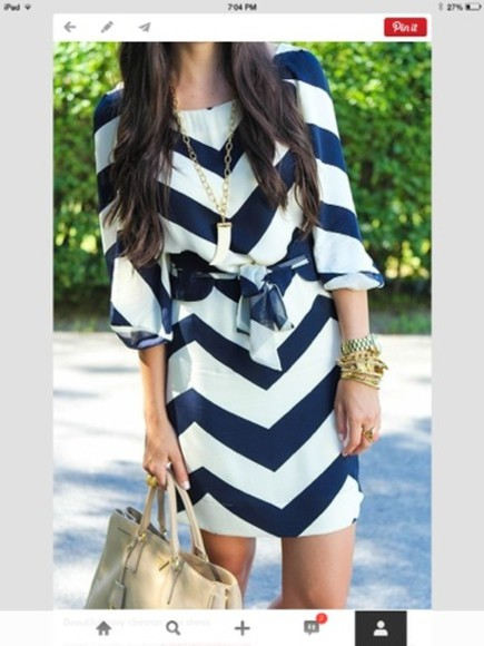 dress clothing clothes navy dress chevron stripes white dress