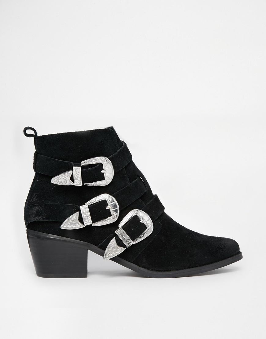 ASOS ROCKER AND ROLLER Western Buckle Ankle Boots at asos.com