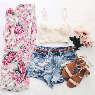 shorts ripped shorts distressed denim shorts light blue boho boho chic floral kimono kimono indie boho indie white crop tops white top high waisted blue shorts blue shorts