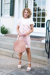 something delightful,blogger,t-shirt,bag,jewels,shoes,round bag,straw bag,pink dress,wedges,sandals,summer outfits