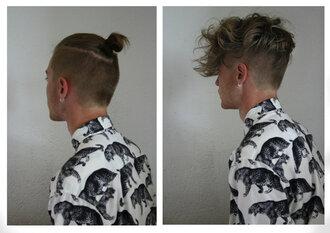 blouse brand streetwear print animal print animal menswear hipster menswear mens shirt