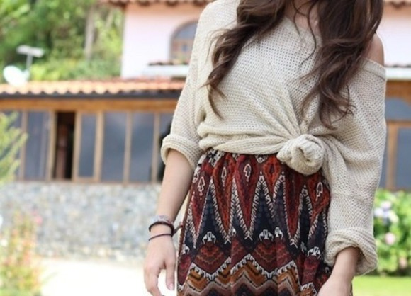 knot skirt tribal pattern maroon beige sweater knit