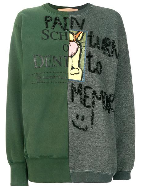 Night Market - patchwork sweatshirt - women - Cotton - One Size, Green, Cotton