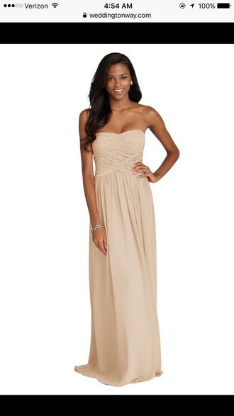 dress champagne dress long bridesmaid dress chiffon dress
