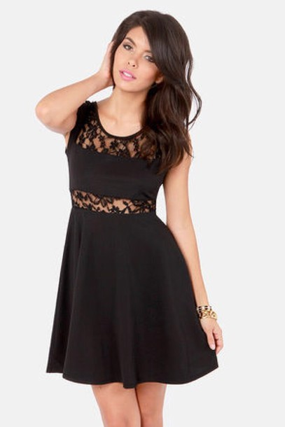dress cut-out lace black summer party pattern design floral pretty cute girly