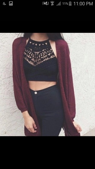 top black top lace top crop tops boho style cardigan