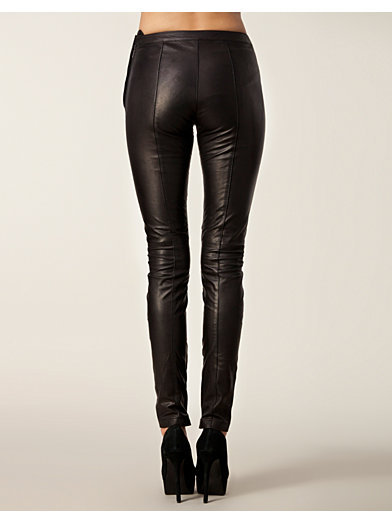 Sabrina Leather Pants - Selected Femme - Black - Trousers & Shorts - Clothing - Women - Nelly.com