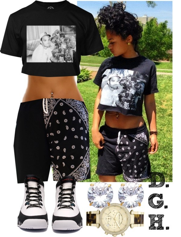 shorts shirt black crop top bandana print black shorts