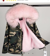 jacket,pink,fur,hood,military style,camouflage,green,faux fur