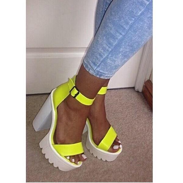 Shoes: neon, heels, platform shoes, platform high heels, neon ...
