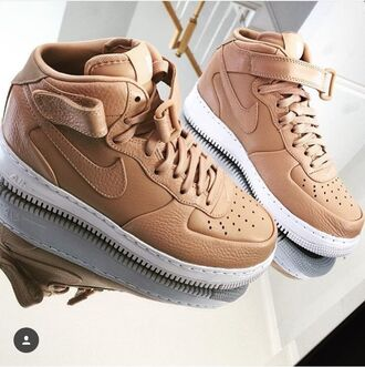 shoes nude sneakers nike sneakers nude sneakers nike air force 1 nike beige swoosh logo nike shoes