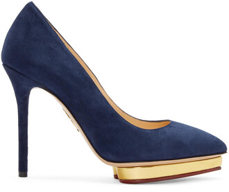 heels navy suede shoes