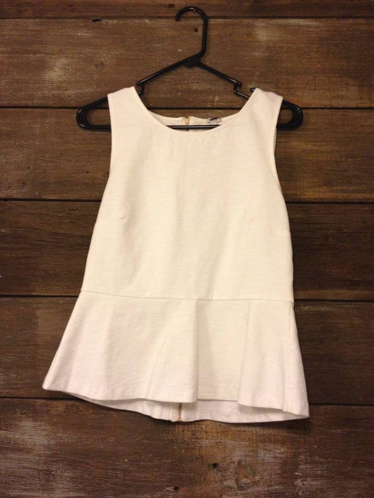 J. Crew White/Cream Peplum Top Blouse Small 2 | eBay