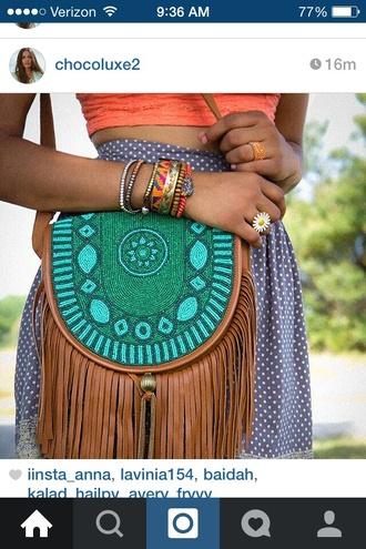 bag shoulder bag aztec fringed bag purse