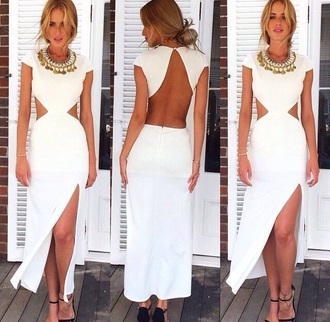 dress white dress maxi dress sexy dress backless dress backless white long dress fashion sexy maxi summer dress summer halter dress halter low back dress party party dress necklace summer outfits trendy