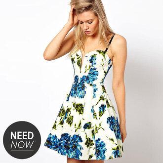dress floral dress blue and green
