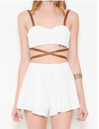 dress brown beautiful summer shopping shop white white outfit white shorts white dress two piece dress set swimwear two piece braided braided belt braided belt criss cross cut out white crop tops summer summer outfits sundress style white crop tops