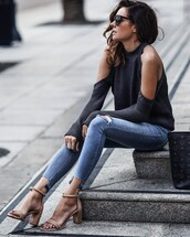 fashionedchic,blogger,sweater,jeans,shoes,bag,cut out shoulder,sandals,skinny jeans,grey sweater,spring outfits