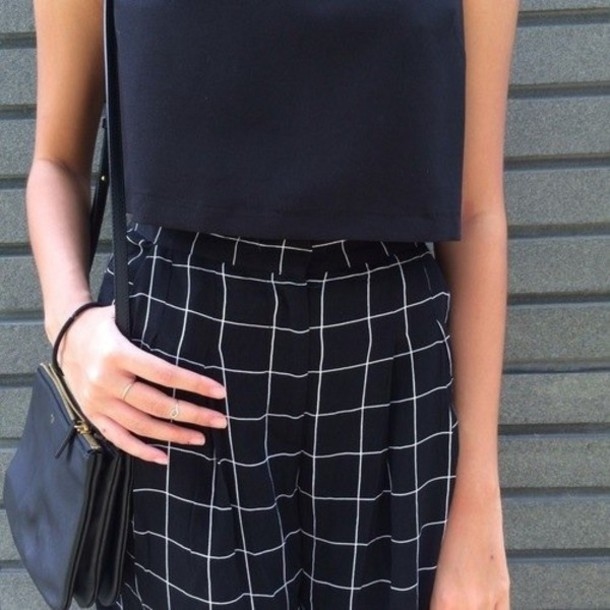 Checkered Black And White Skirt