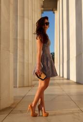 dress,multicolor dress,cute dress,shoes,high heels,cute high heels,light brown heels