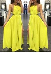dress,clothes,tumblr clothes,flowy dress,maxi dress,yellow dress